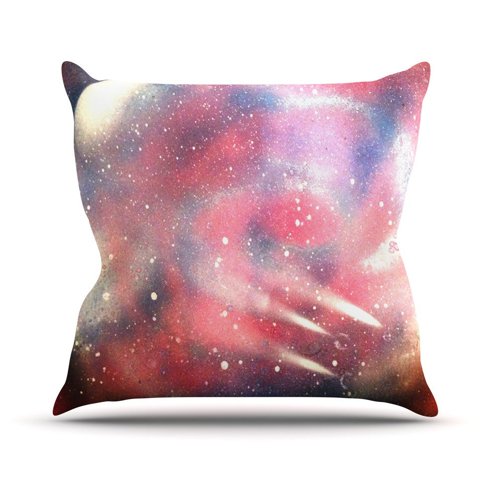 "Infinite Spray Art ""Cascade Swirl"" Red Pink Outdoor Throw Pillow - KESS InHouse  - 1"