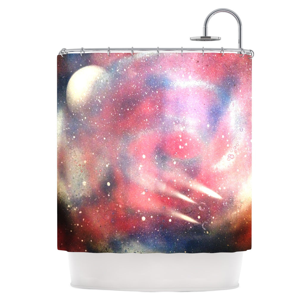 "Infinite Spray Art ""Cascade Swirl"" Red Pink Shower Curtain - KESS InHouse"