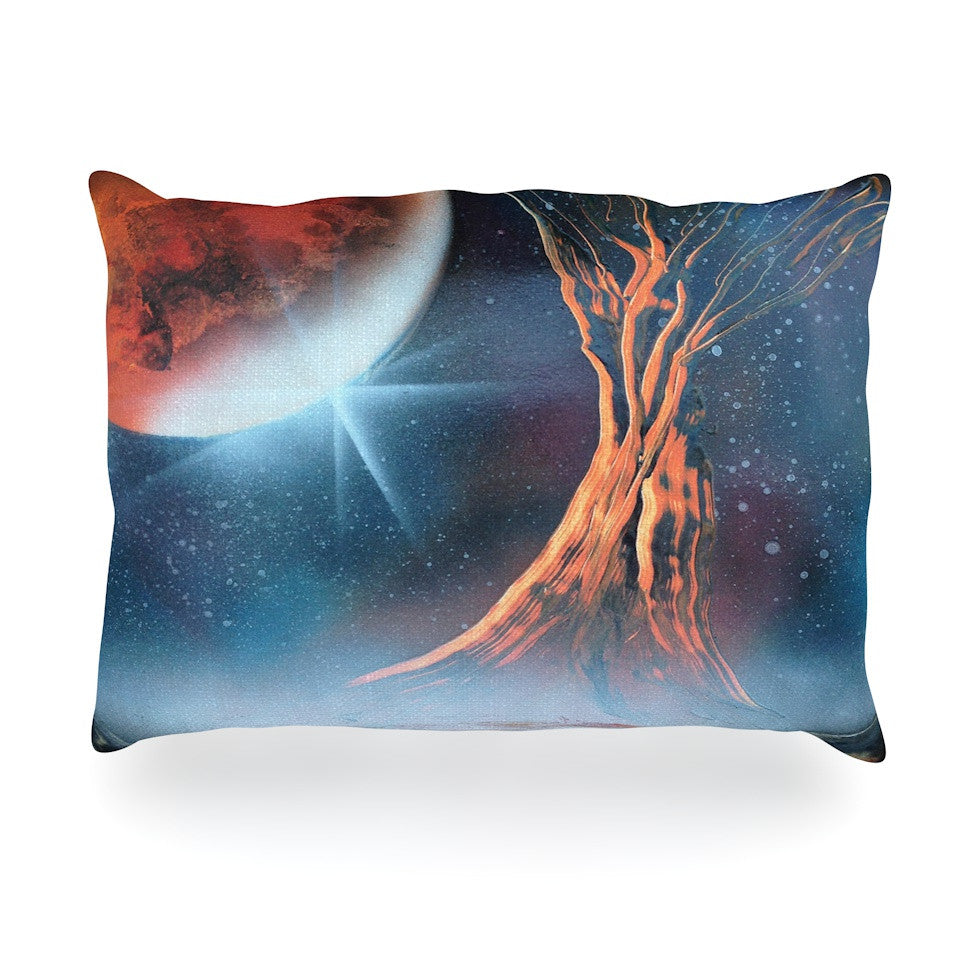 "Infinite Spray Art ""Embark"" Nature Blue Oblong Pillow - KESS InHouse"