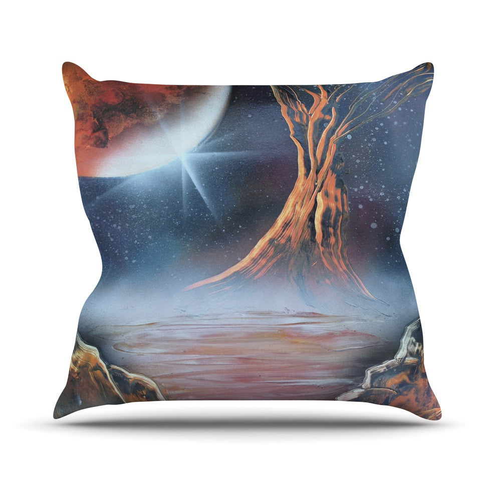 "Infinite Spray Art ""Embark"" Nature Blue Throw Pillow - KESS InHouse  - 1"