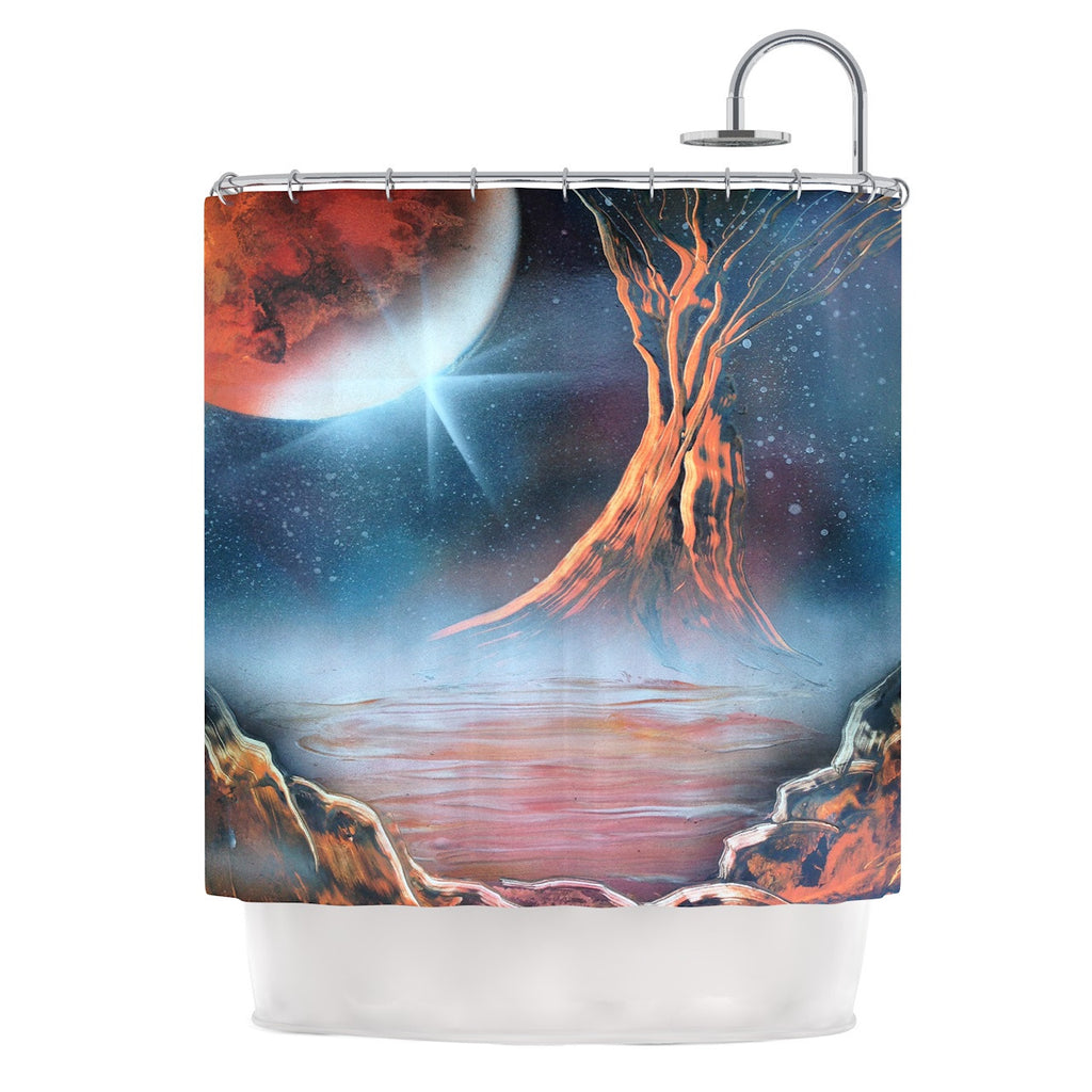 "Infinite Spray Art ""Embark"" Nature Blue Shower Curtain - KESS InHouse"