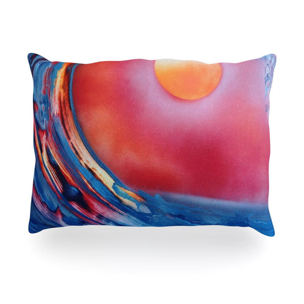 "Infinite Spray Art ""Ideal Barrel"" Blue Pink Oblong Pillow - KESS InHouse"
