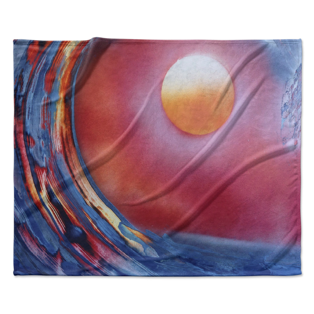 "Infinite Spray Art ""Ideal Barrel"" Blue Pink Fleece Throw Blanket"