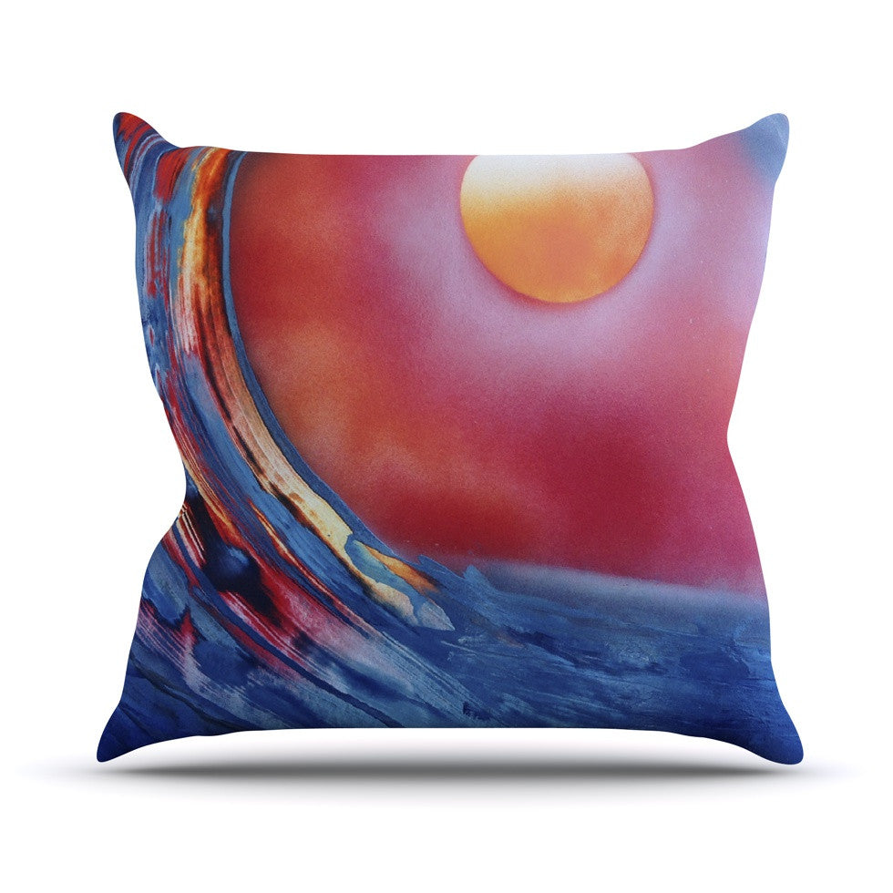 "Infinite Spray Art ""Ideal Barrel"" Blue Pink Throw Pillow - KESS InHouse  - 1"