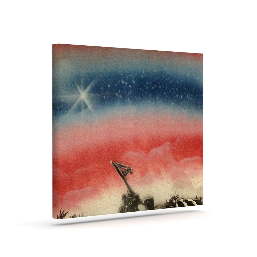 "Infinite Spray Art ""Veteran's Day"" Red Blue Canvas Art - KESS InHouse  - 1"