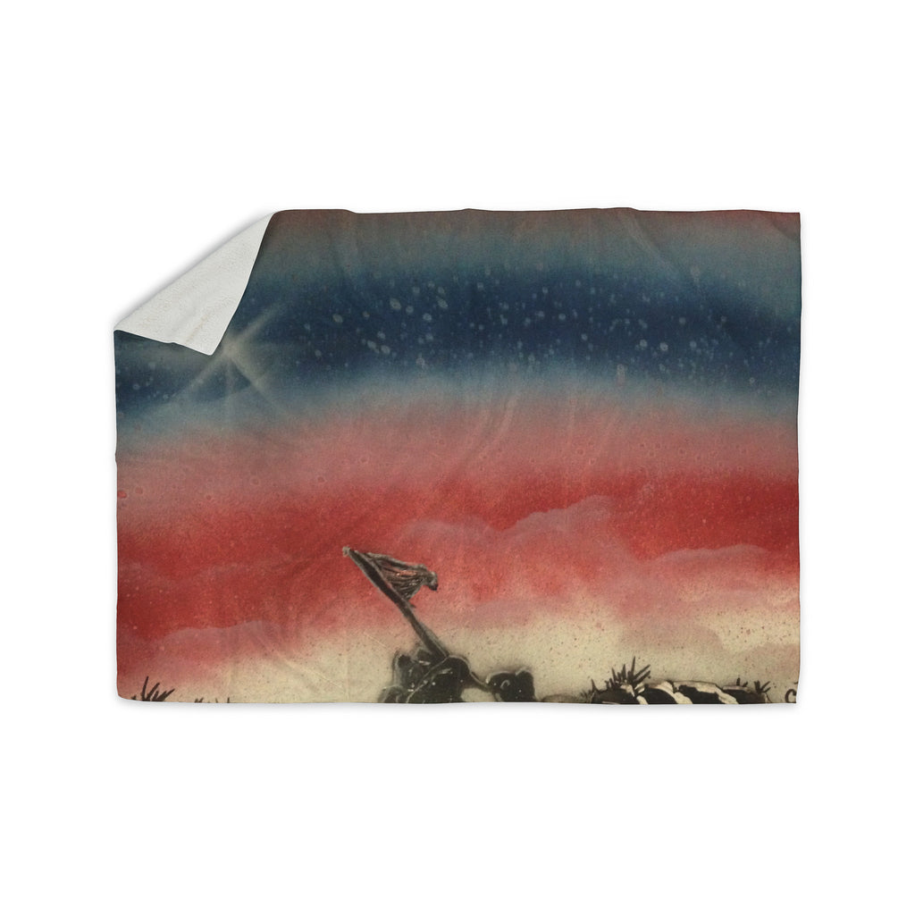 "Infinite Spray Art ""Veteran's Day"" Red Blue Sherpa Blanket - KESS InHouse  - 1"
