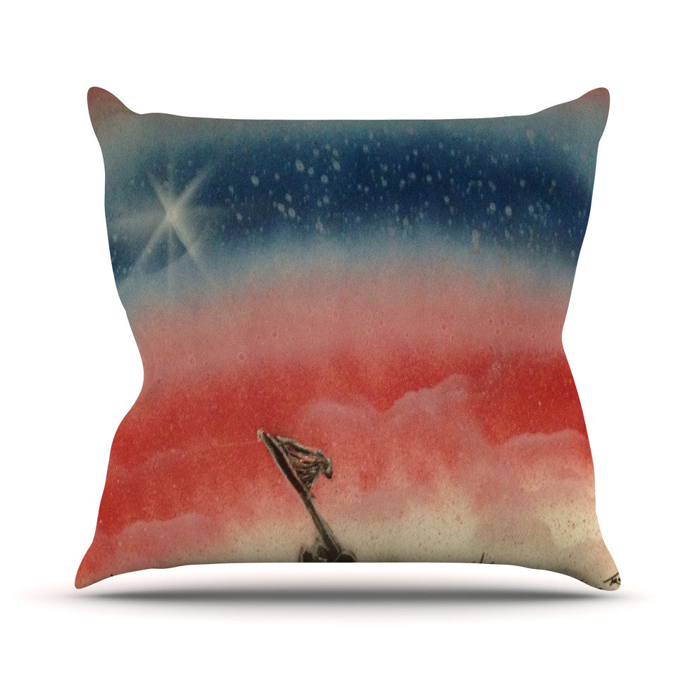 "Infinite Spray Art ""Veteran's Day"" Red Blue Outdoor Throw Pillow - KESS InHouse  - 1"