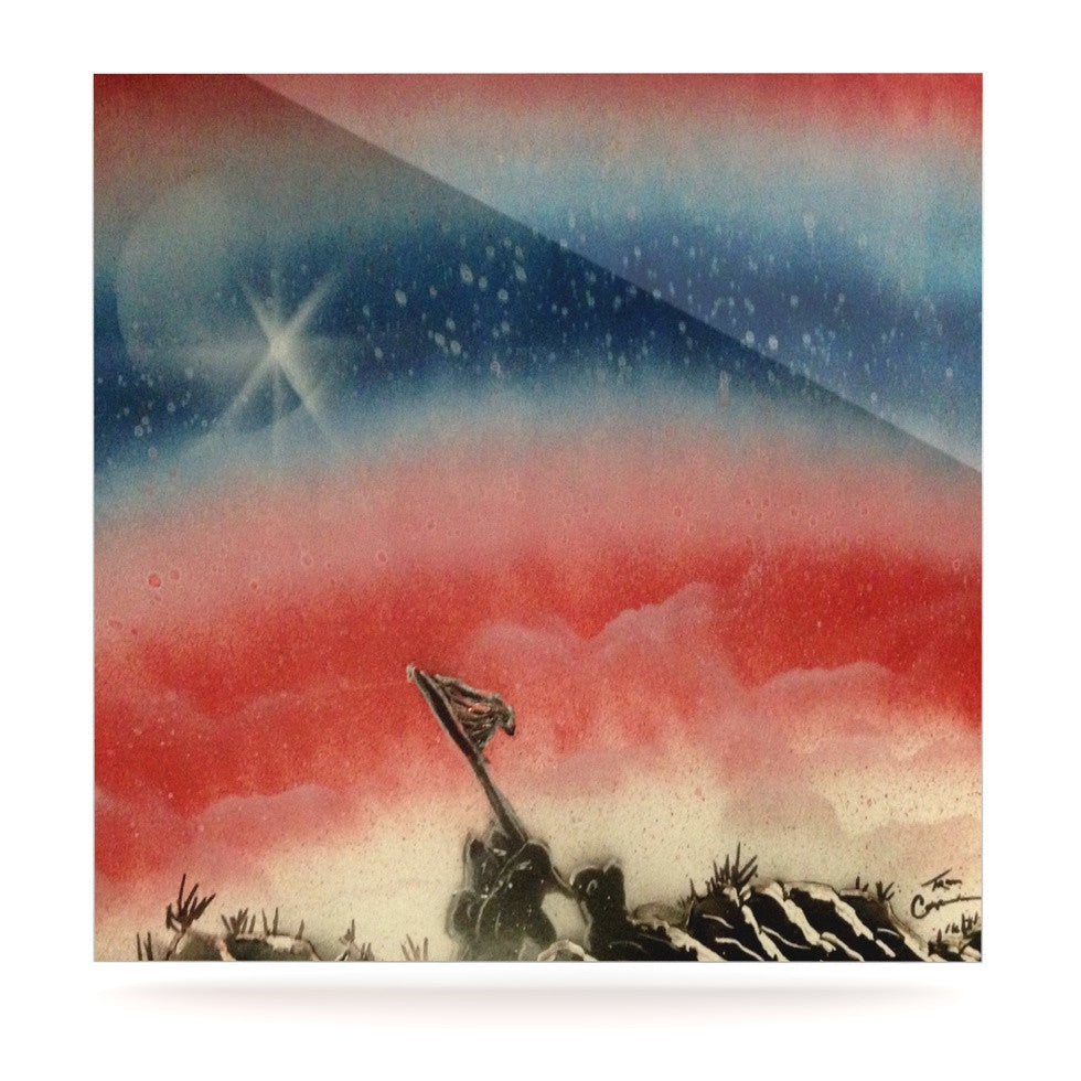 "Infinite Spray Art ""Veteran's Day"" Red Blue Luxe Square Panel - KESS InHouse  - 1"