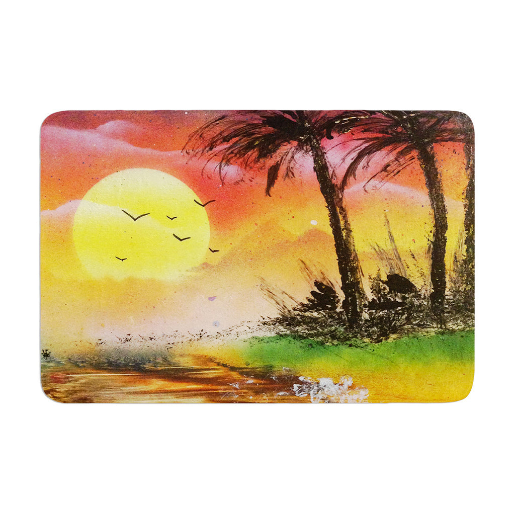 "Infinite Spray Art ""Maui Sunrise"" Beach Memory Foam Bath Mat - KESS InHouse"