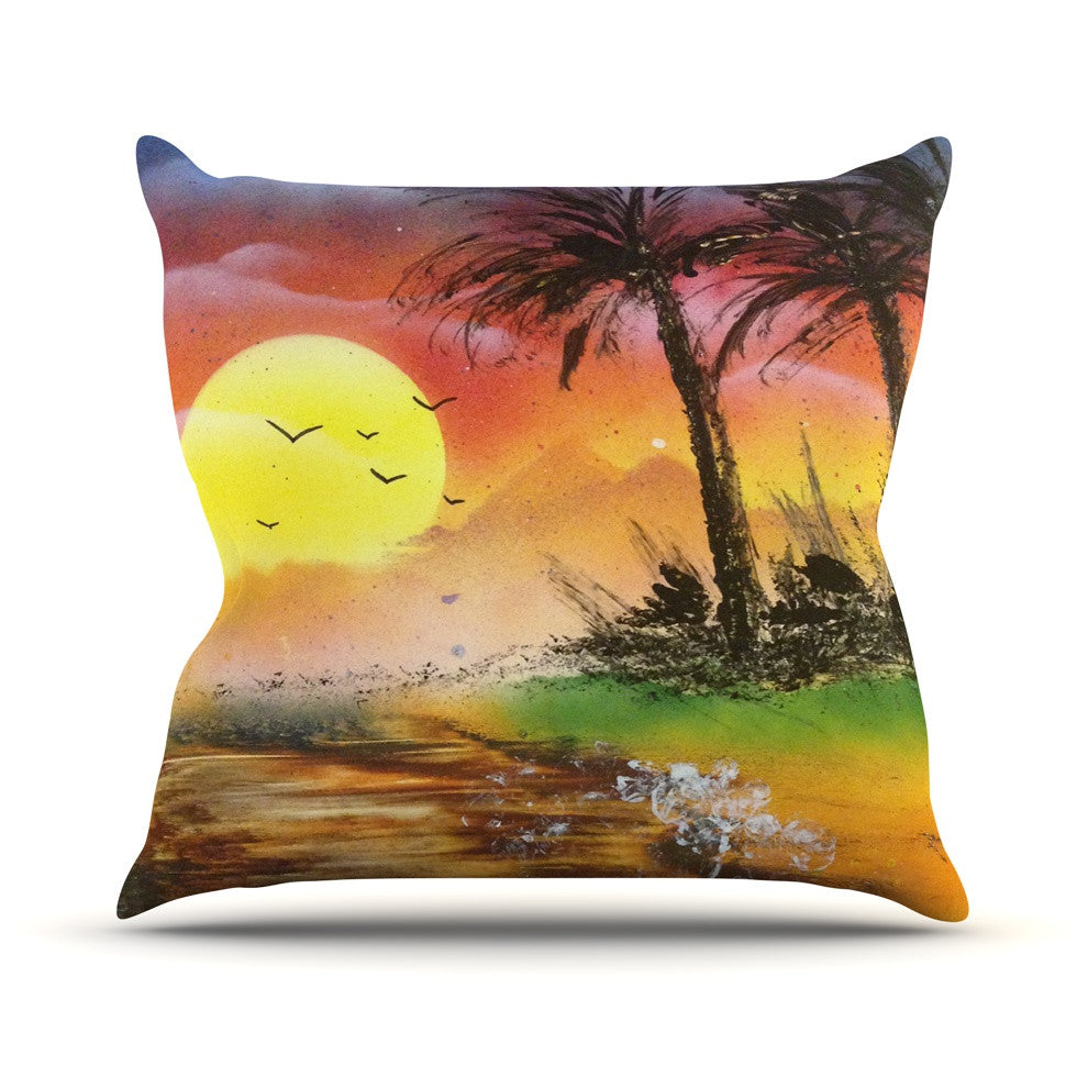 "Infinite Spray Art ""Maui Sunrise"" Beach Throw Pillow - KESS InHouse  - 1"