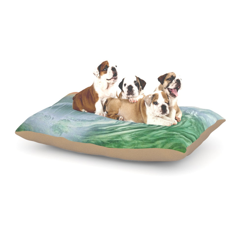 "Infinite Spray Art ""Can't Get Enough"" Pink Green Dog Bed - KESS InHouse  - 1"