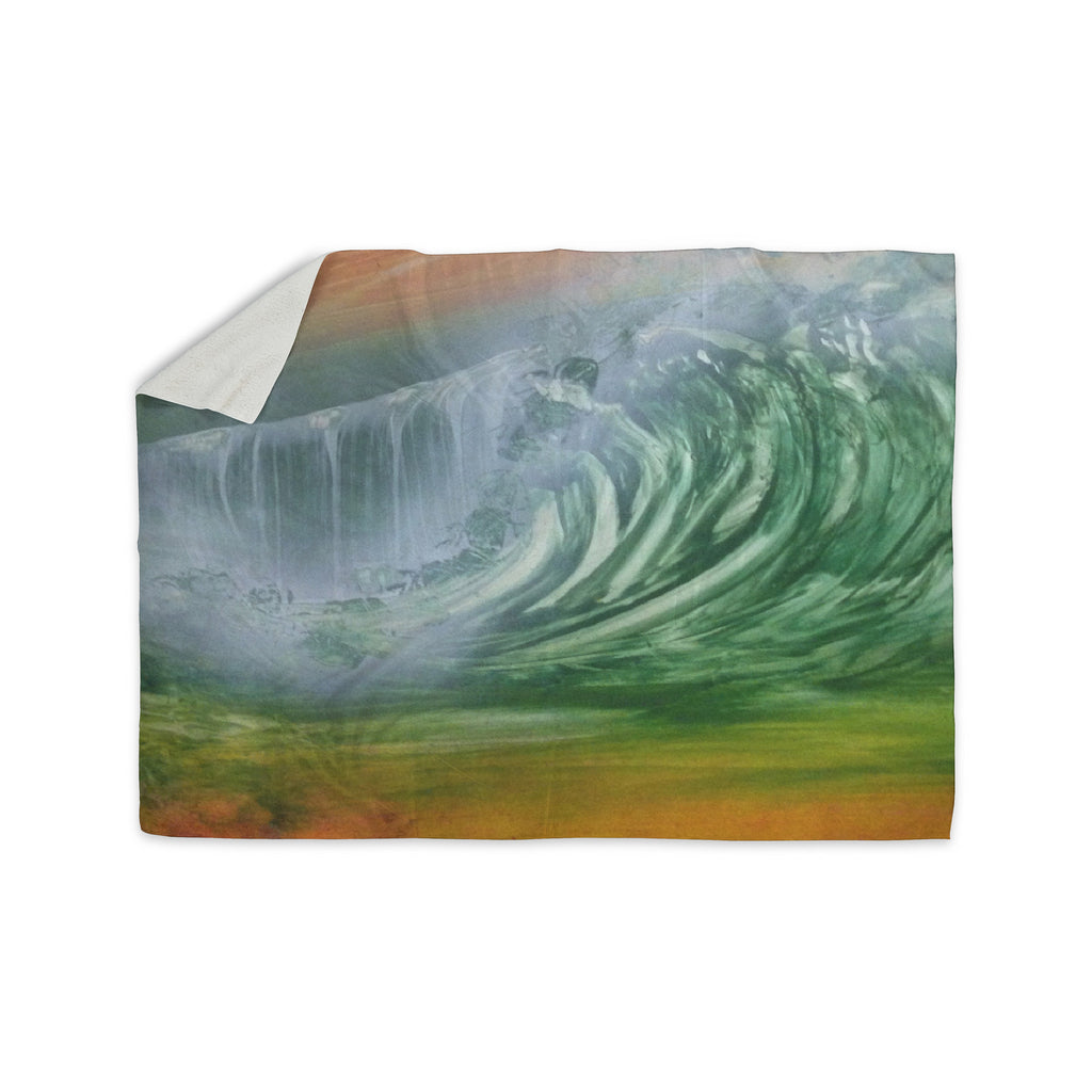 "Infinite Spray Art ""Can't Get Enough"" Pink Green Sherpa Blanket - KESS InHouse  - 1"