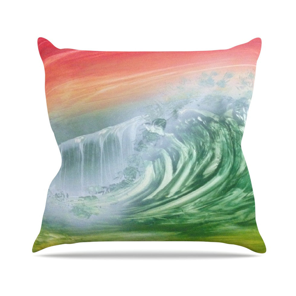 "Infinite Spray Art ""Can't Get Enough"" Pink Green Outdoor Throw Pillow - KESS InHouse  - 1"
