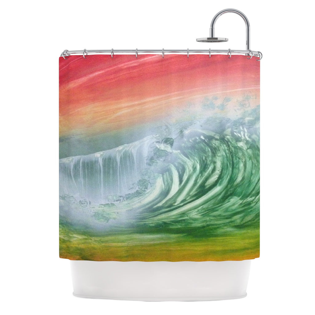 "Infinite Spray Art ""Can't Get Enough"" Pink Green Shower Curtain - KESS InHouse"