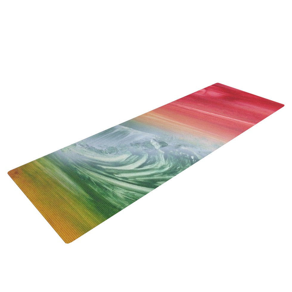 "Infinite Spray Art ""Can't Get Enough"" Pink Green Yoga Mat - KESS InHouse  - 1"