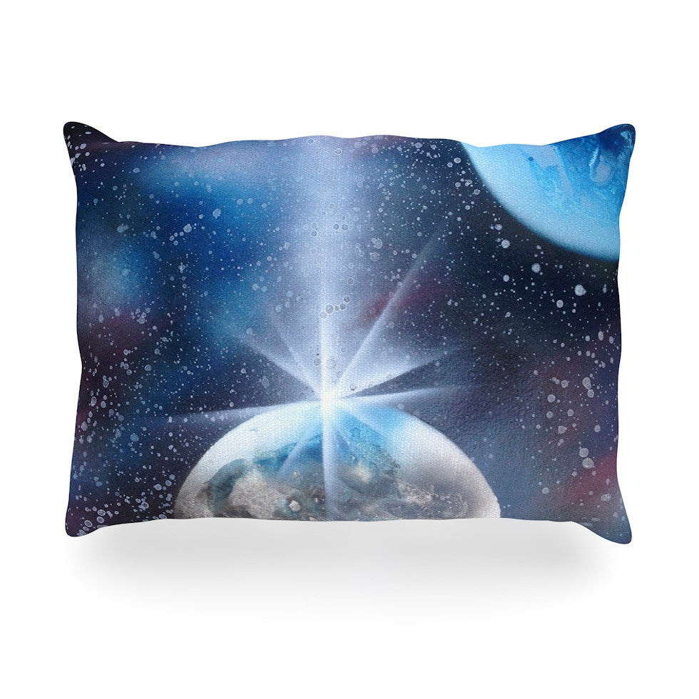 "Infinite Spray Art ""Intergalactic"" Blue Painting Oblong Pillow - KESS InHouse"