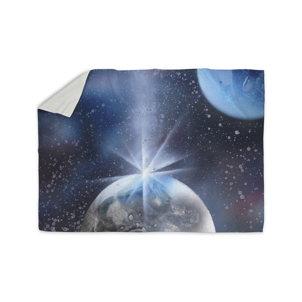 "Infinite Spray Art ""Intergalactic"" Blue Painting Sherpa Blanket - KESS InHouse  - 1"