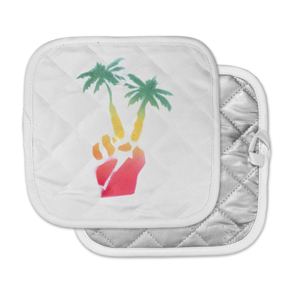 "Infinite Spray Art ""Peace Palms"" Palm Tree Pot Holder"