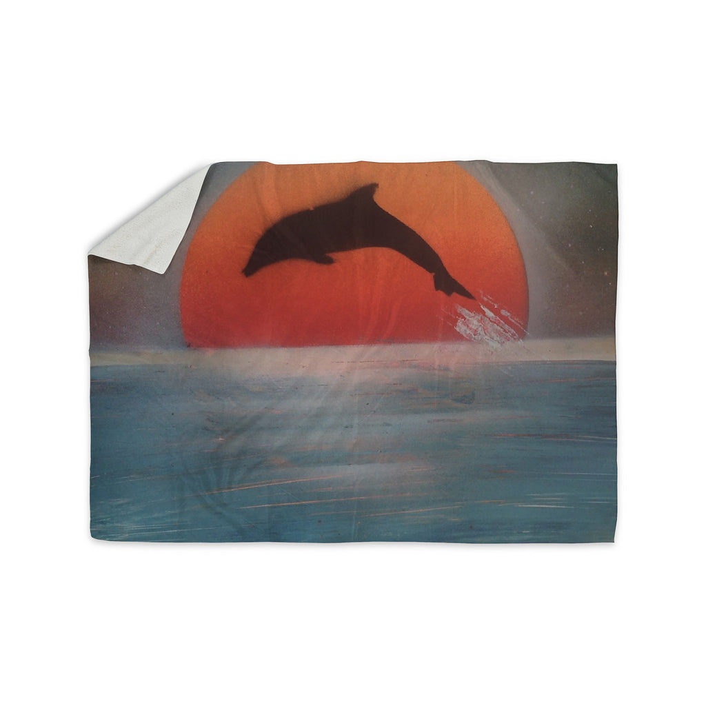 "Infinite Spray Art ""Dolphin Sunset"" Blue Gray Sherpa Blanket - KESS InHouse  - 1"