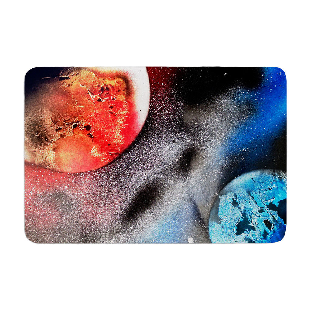 "Infinite Spray Art ""Sun VS. Moon"" Planet  Memory Foam Bath Mat - KESS InHouse"