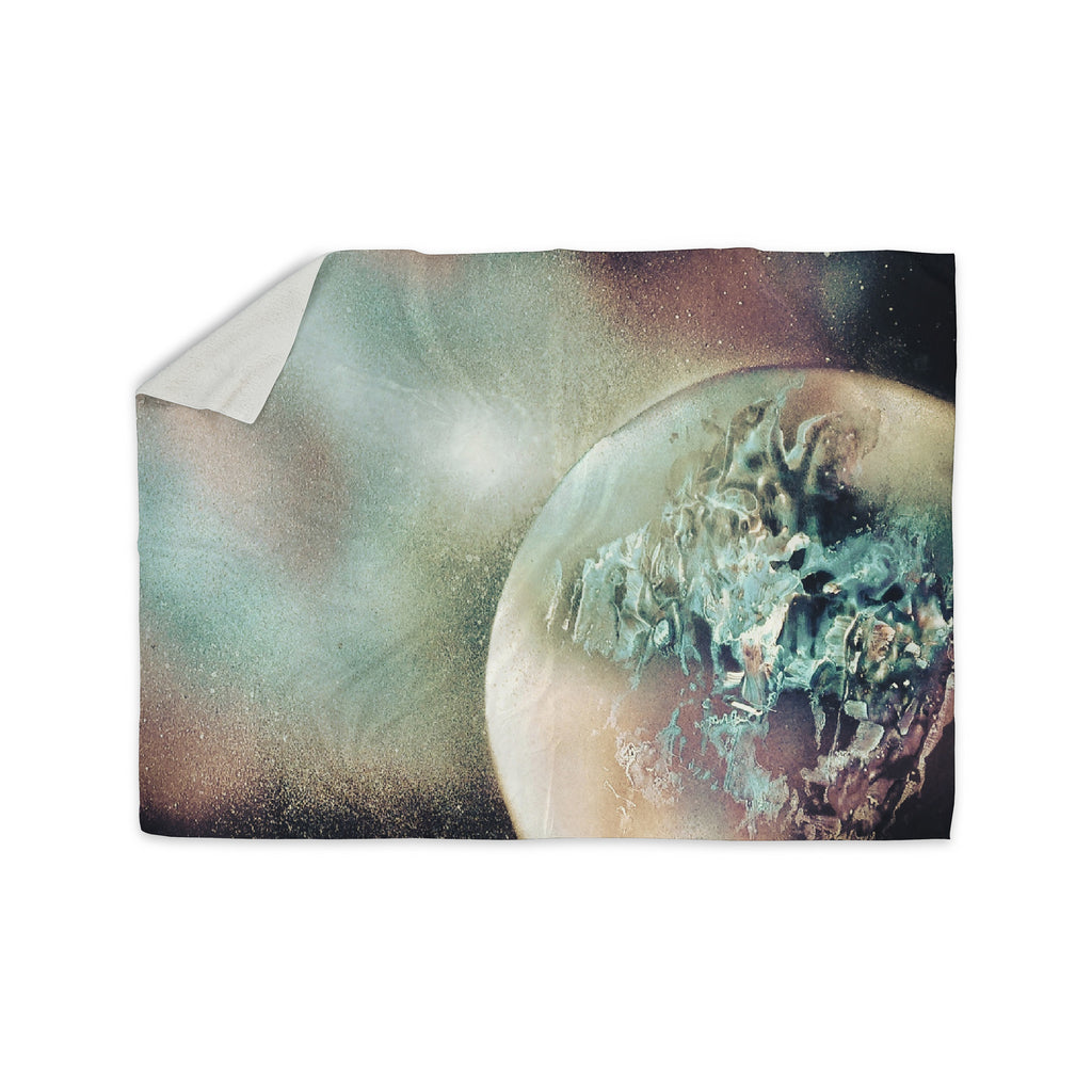 "Infinite Spray Art ""Space Dust"" Space Planet Sherpa Blanket - KESS InHouse"
