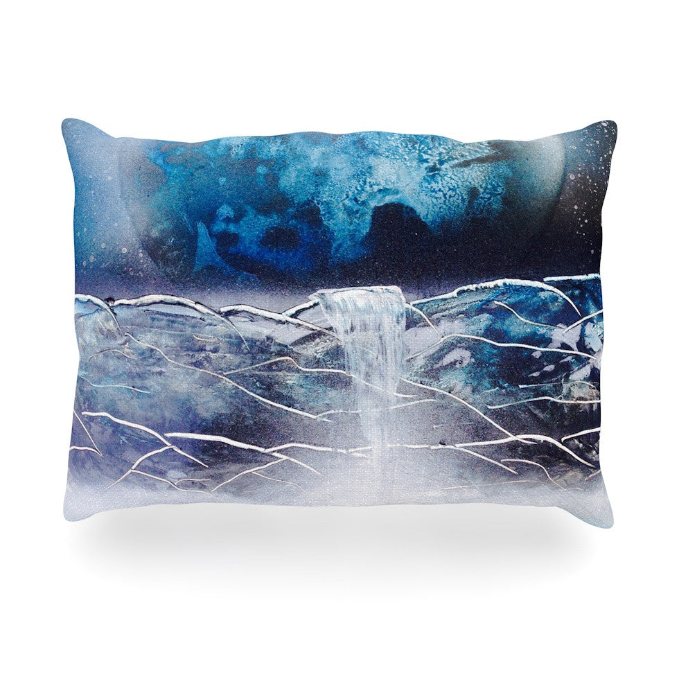 "Infinite Spray Art ""Surreal Falls"" Blue Planet Oblong Pillow - KESS InHouse"