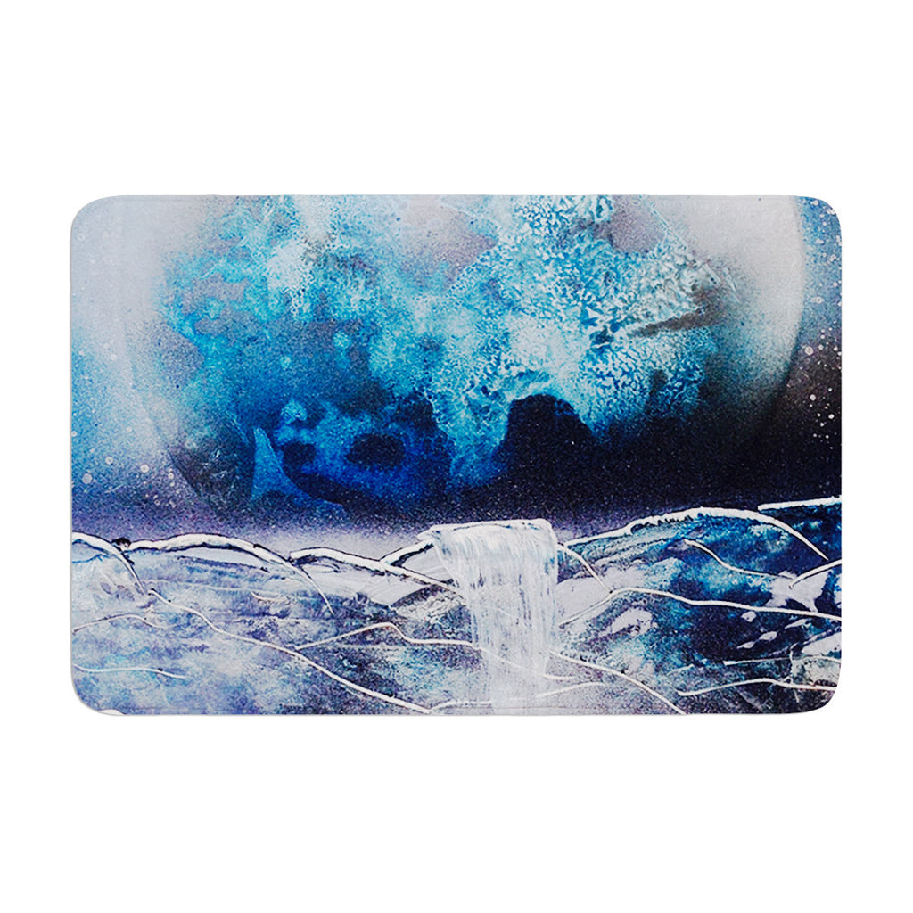 "Infinite Spray Art ""Surreal Falls"" Blue Planet Memory Foam Bath Mat - KESS InHouse"