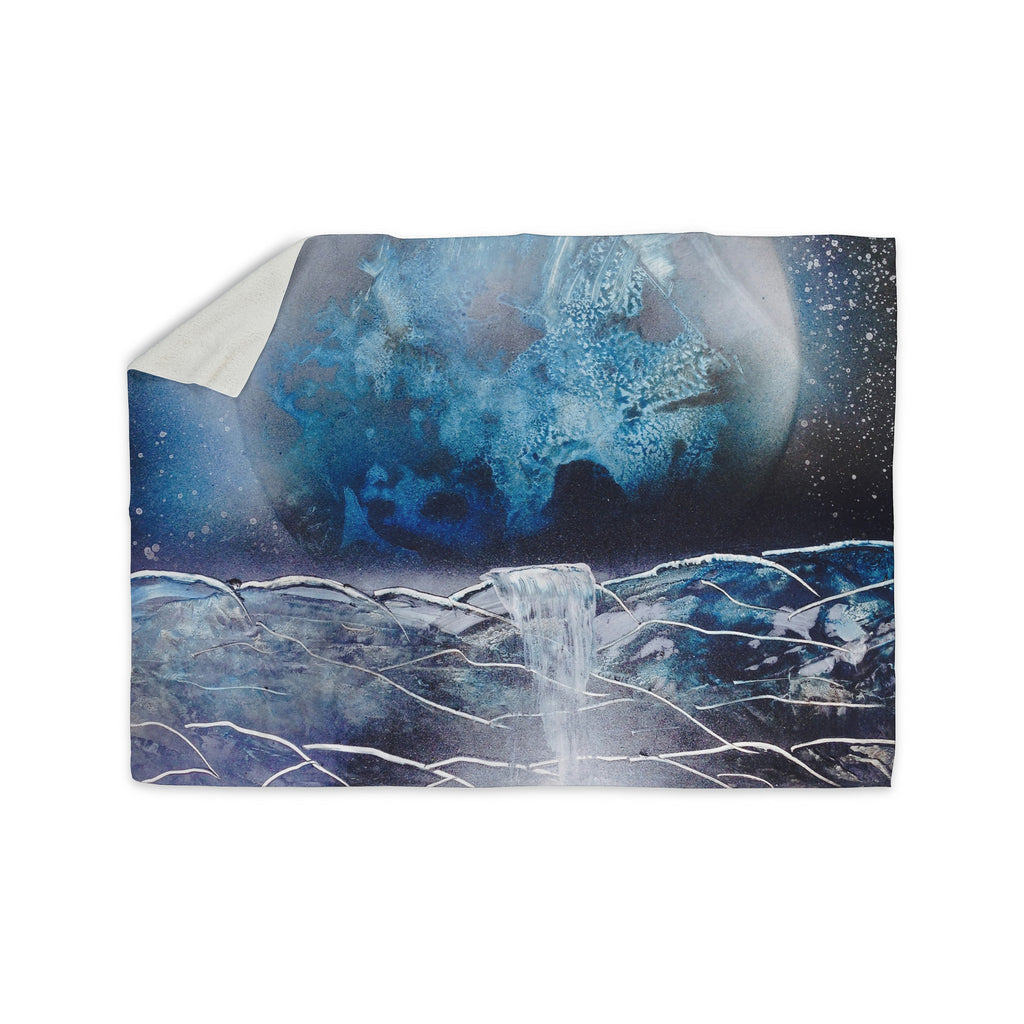"Infinite Spray Art ""Surreal Falls"" Blue Planet Sherpa Blanket - KESS InHouse  - 1"