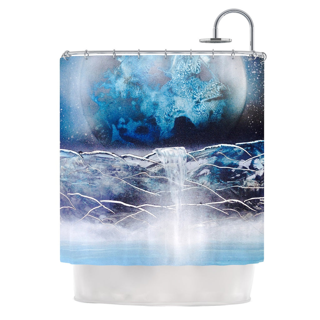 Infinite Spray Art Surreal Falls Blue Planet Shower Curtain