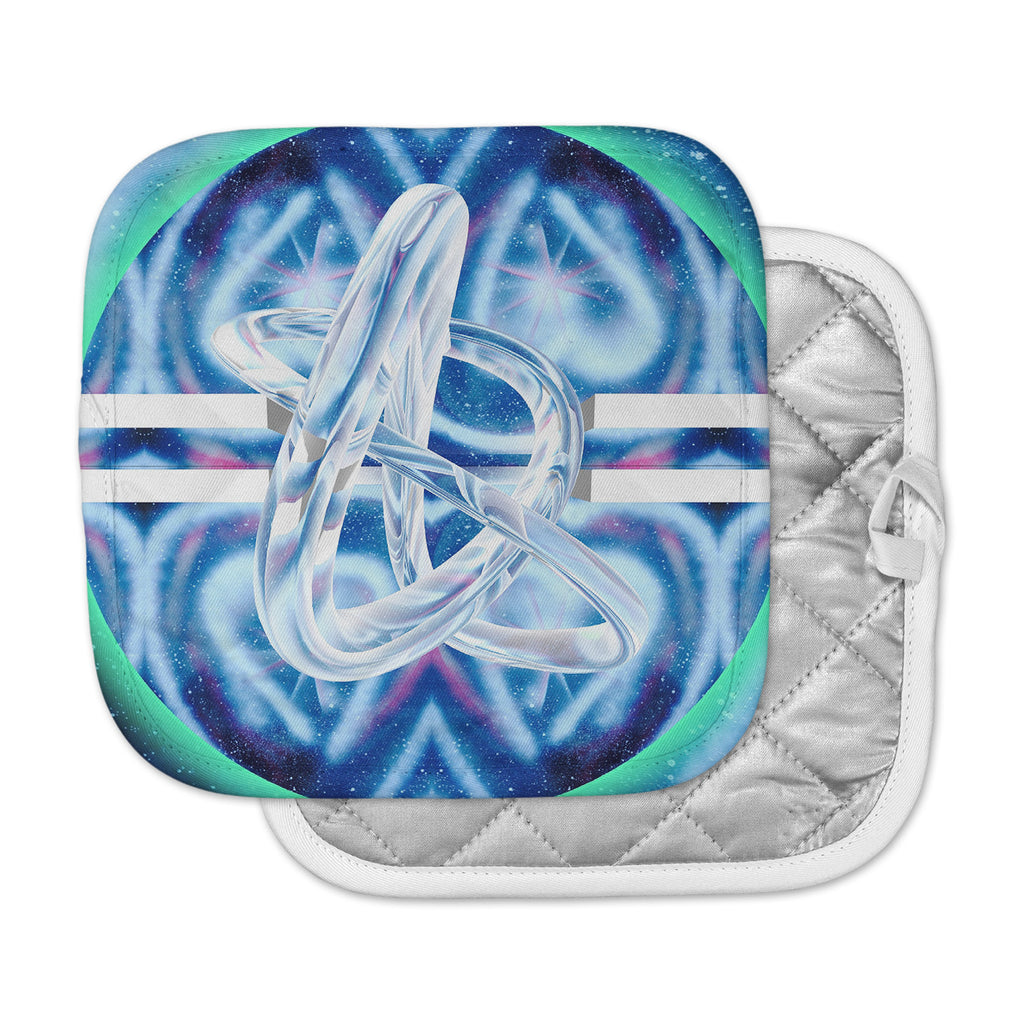"Infinite Spray Art ""New Era"" Blue Green Pot Holder"