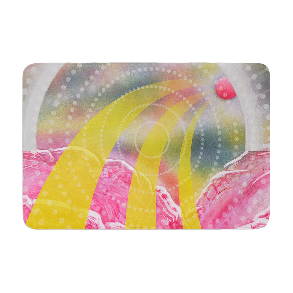 "Infinite Spray Art ""Enlightening"" Pink Yellow Memory Foam Bath Mat - KESS InHouse"