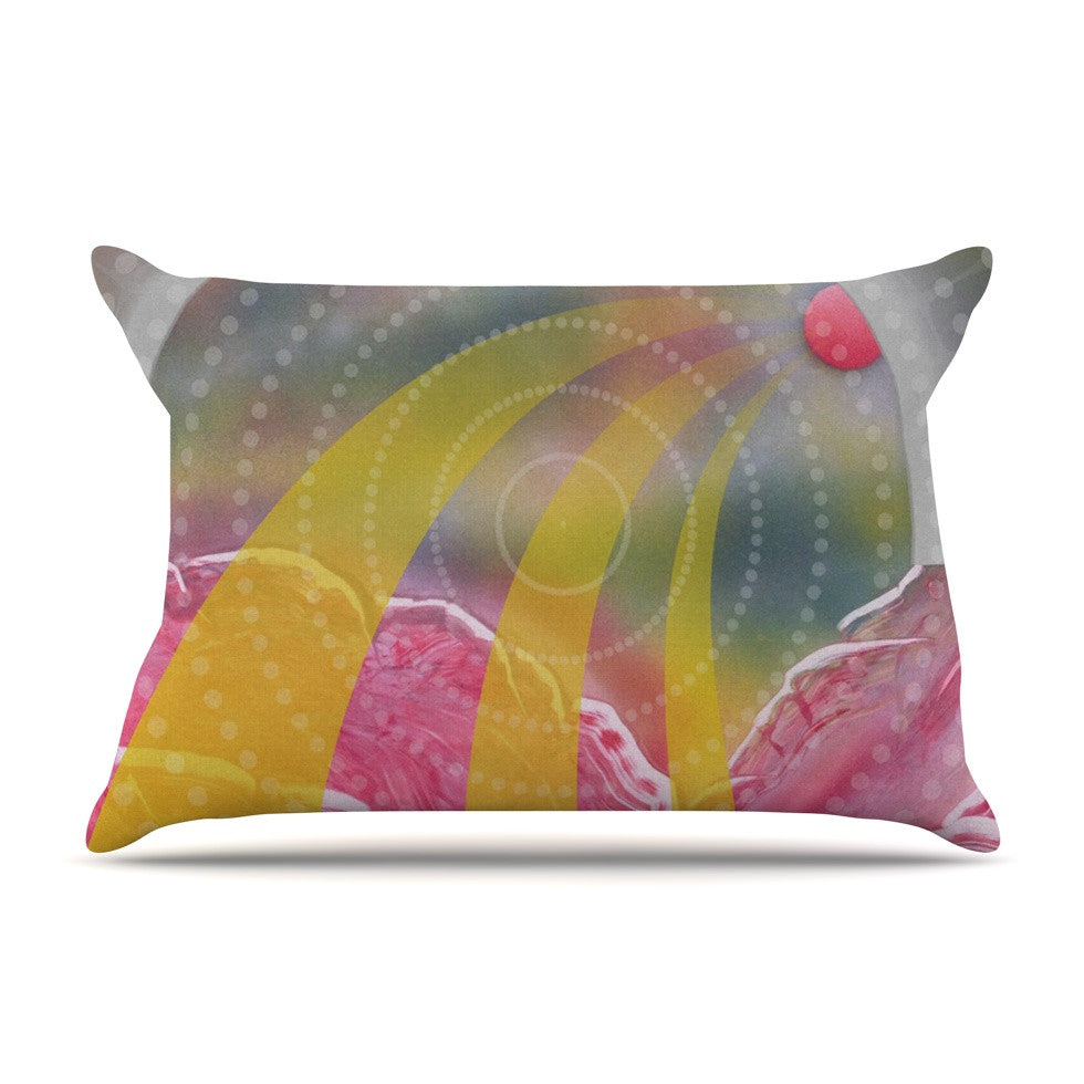 "Infinite Spray Art ""Enlightening"" Pink Yellow Pillow Sham - KESS InHouse"