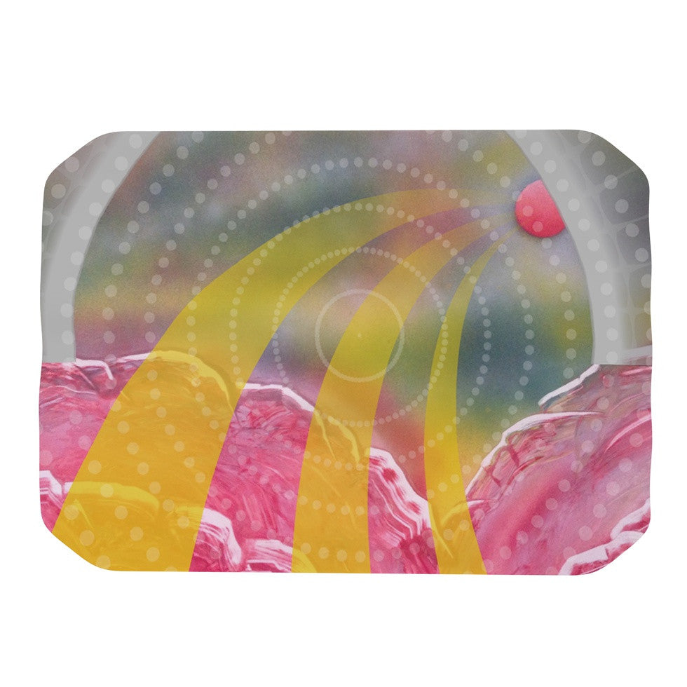 "Infinite Spray Art ""Enlightening"" Pink Yellow Place Mat - KESS InHouse"