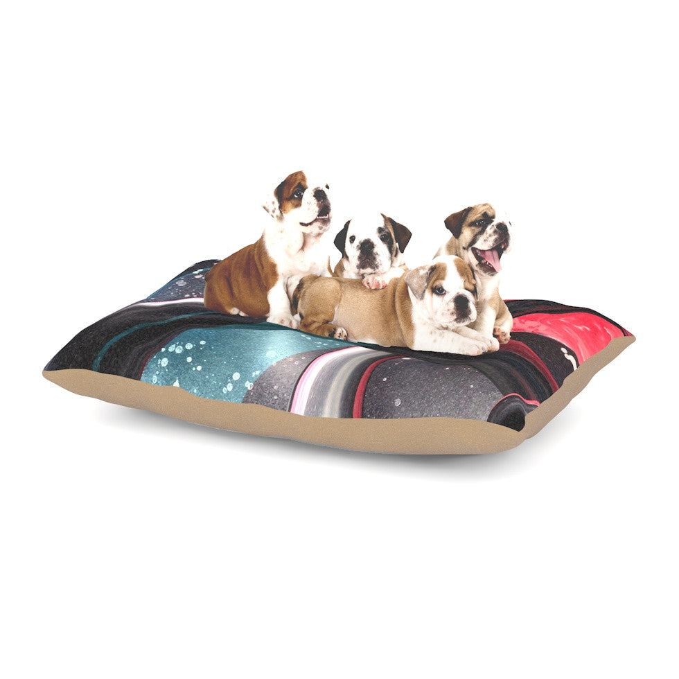 "Infinite Spray Art ""Geometric Mars"" Black Teal Red Dog Bed - KESS InHouse  - 1"