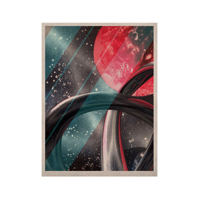 "Infinite Spray Art ""Geometric Mars"" Black Teal Red KESS Naturals Canvas (Frame not Included) - KESS InHouse  - 1"