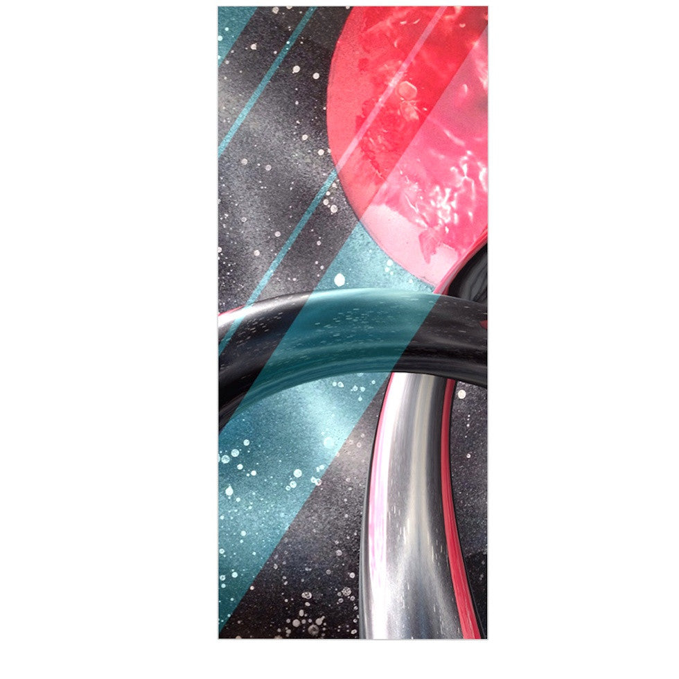 "Infinite Spray Art ""Geometric Mars"" Black Teal Red Luxe Rectangle Panel - KESS InHouse  - 1"