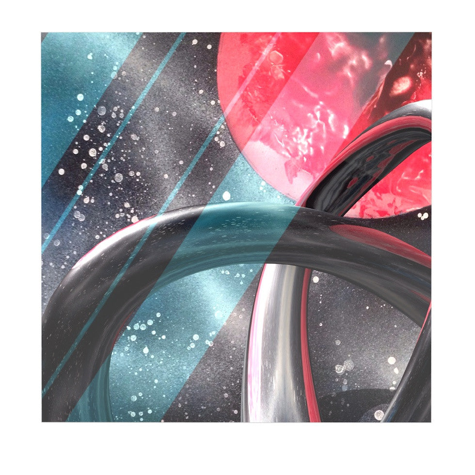 "Infinite Spray Art ""Geometric Mars"" Black Teal Red Luxe Square Panel - KESS InHouse  - 1"