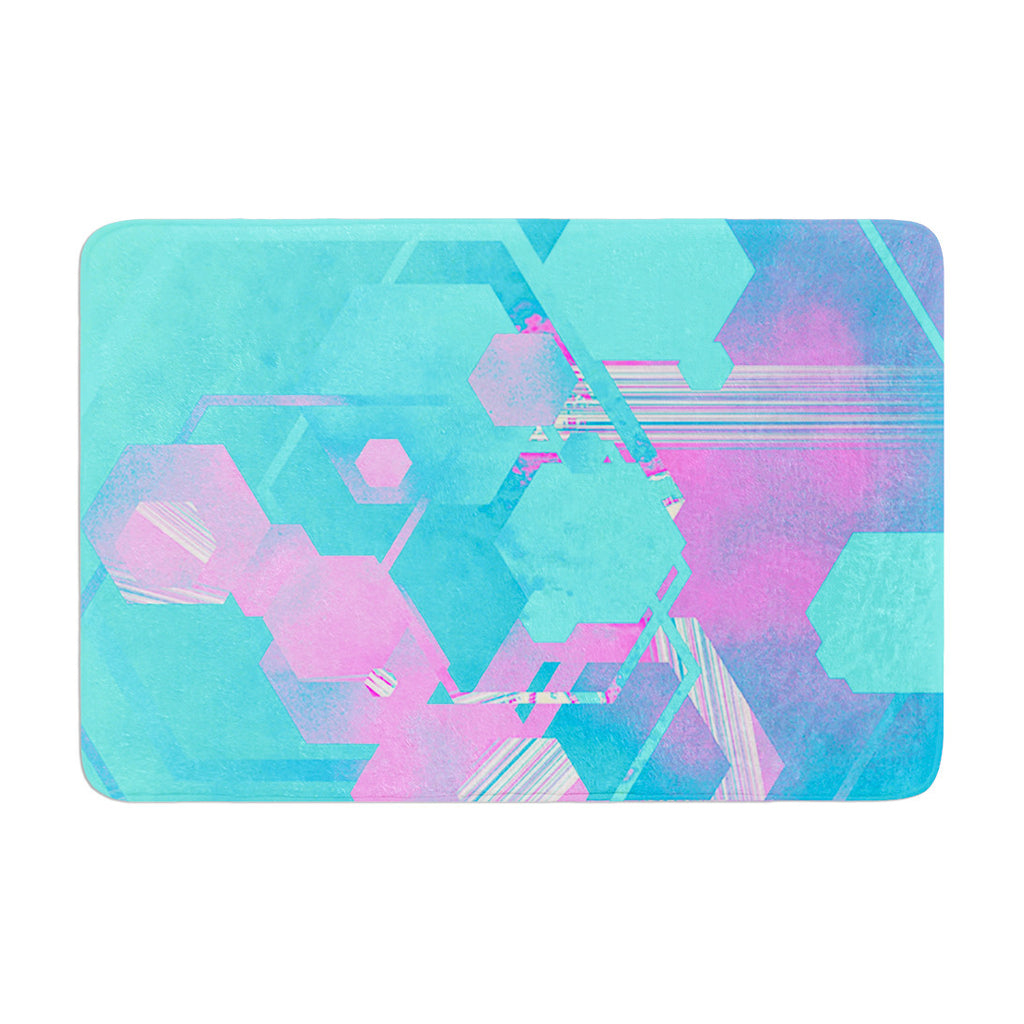 "Infinite Spray Art ""Emersion"" Teal Pink Memory Foam Bath Mat - KESS InHouse"