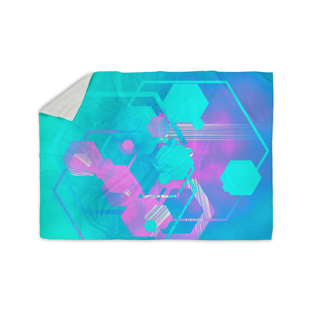 "Infinite Spray Art ""Emersion"" Teal Pink Sherpa Blanket - KESS InHouse  - 1"