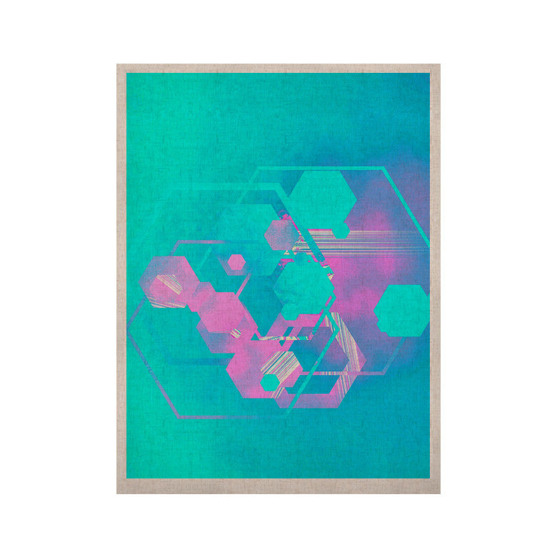 "Infinite Spray Art ""Emersion"" Teal Pink KESS Naturals Canvas (Frame not Included) - KESS InHouse  - 1"