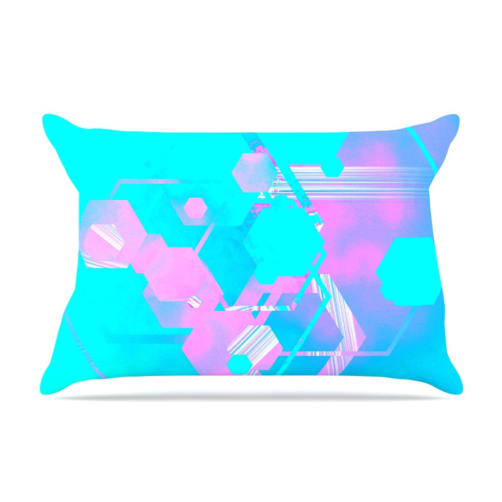 "Infinite Spray Art ""Emersion"" Teal Pink Pillow Sham - KESS InHouse"
