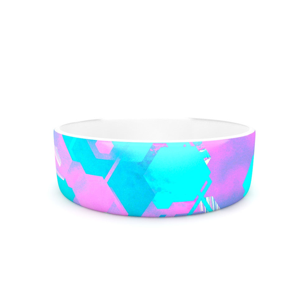 "Infinite Spray Art ""Emersion"" Teal Pink Pet Bowl - KESS InHouse"