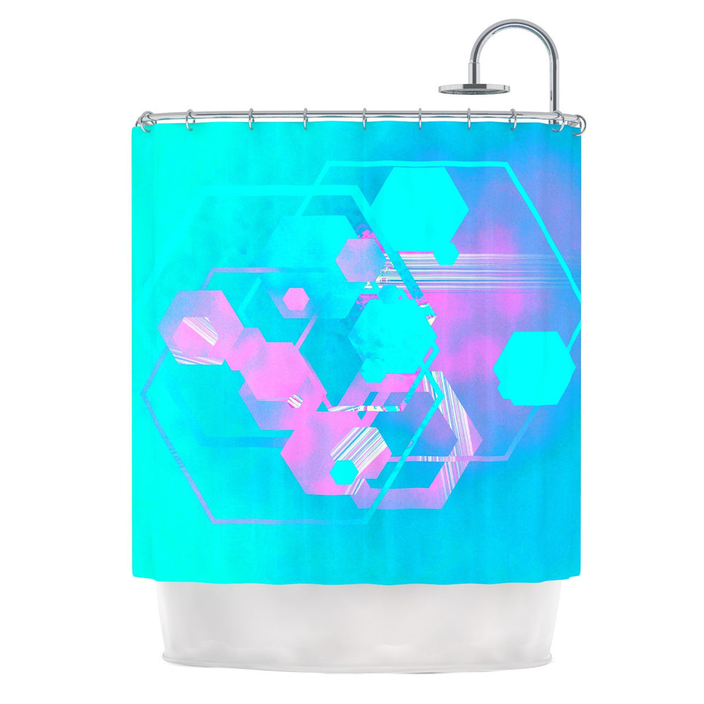 "Infinite Spray Art ""Emersion"" Teal Pink Shower Curtain - KESS InHouse"