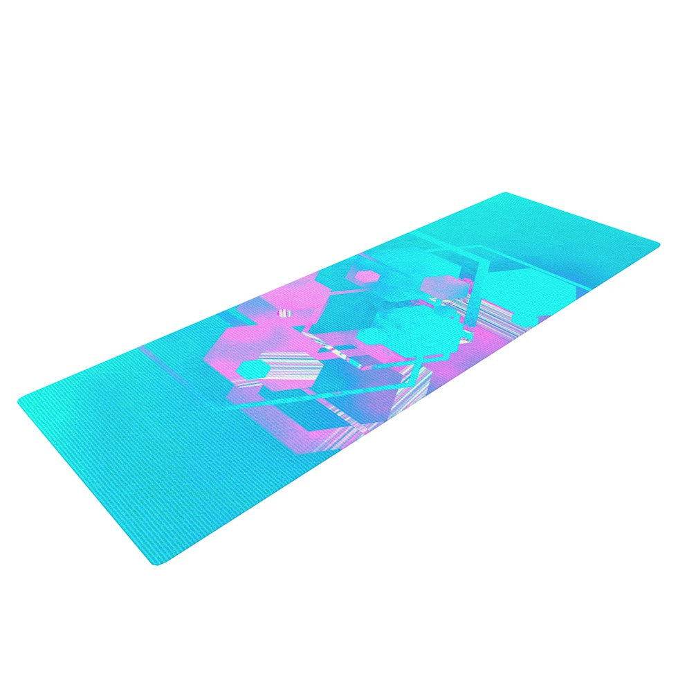 "Infinite Spray Art ""Emersion"" Teal Pink Yoga Mat - KESS InHouse  - 1"