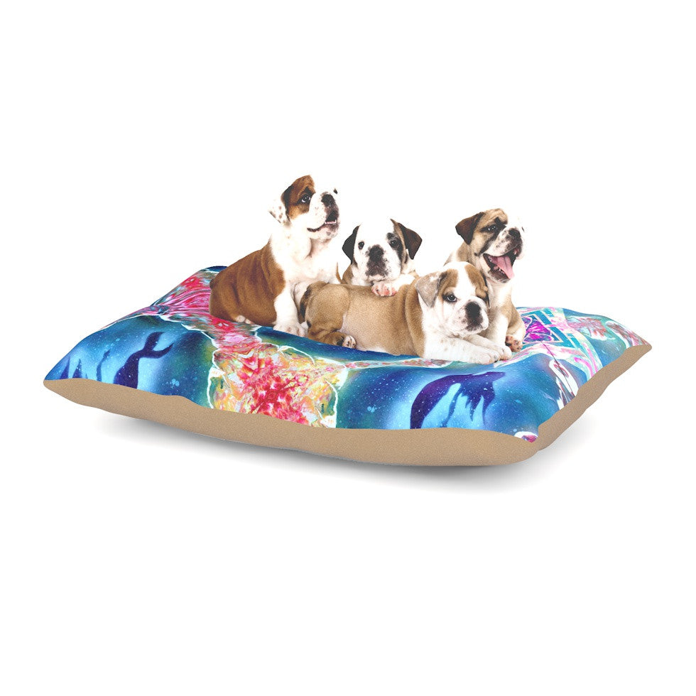 "Infinite Spray Art ""Mermaid Pattern"" Blue Pink Dog Bed - KESS InHouse  - 1"