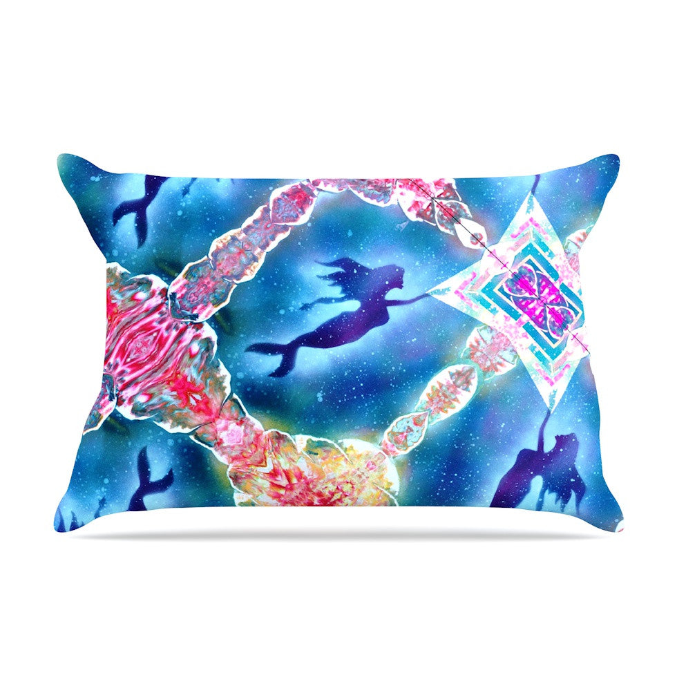 "Infinite Spray Art ""Mermaid Pattern"" Blue Pink Pillow Sham - KESS InHouse"