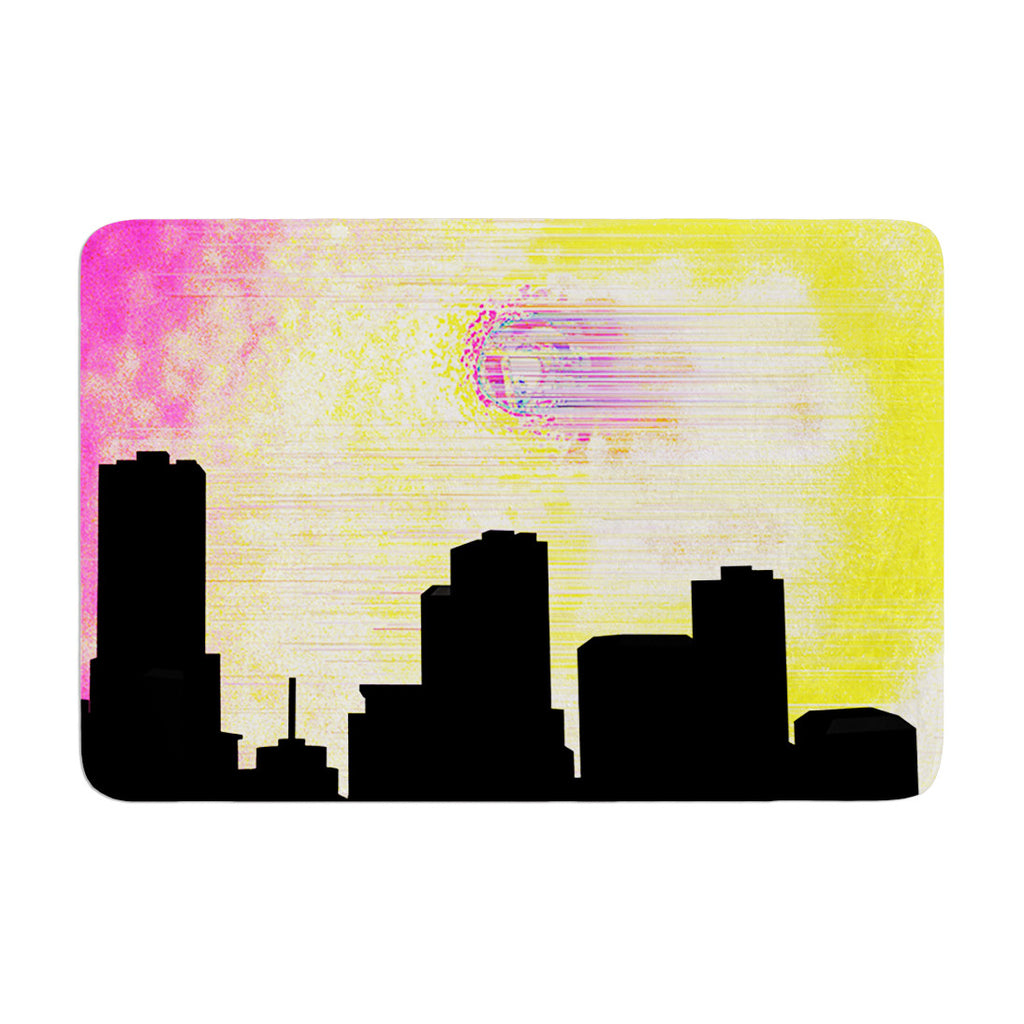 "Infinite Spray Art ""Skylined"" Pink Yellow Memory Foam Bath Mat - KESS InHouse"