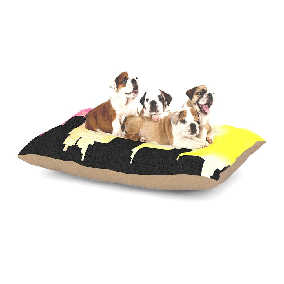 "Infinite Spray Art ""Skylined"" Pink Yellow Dog Bed - KESS InHouse  - 1"