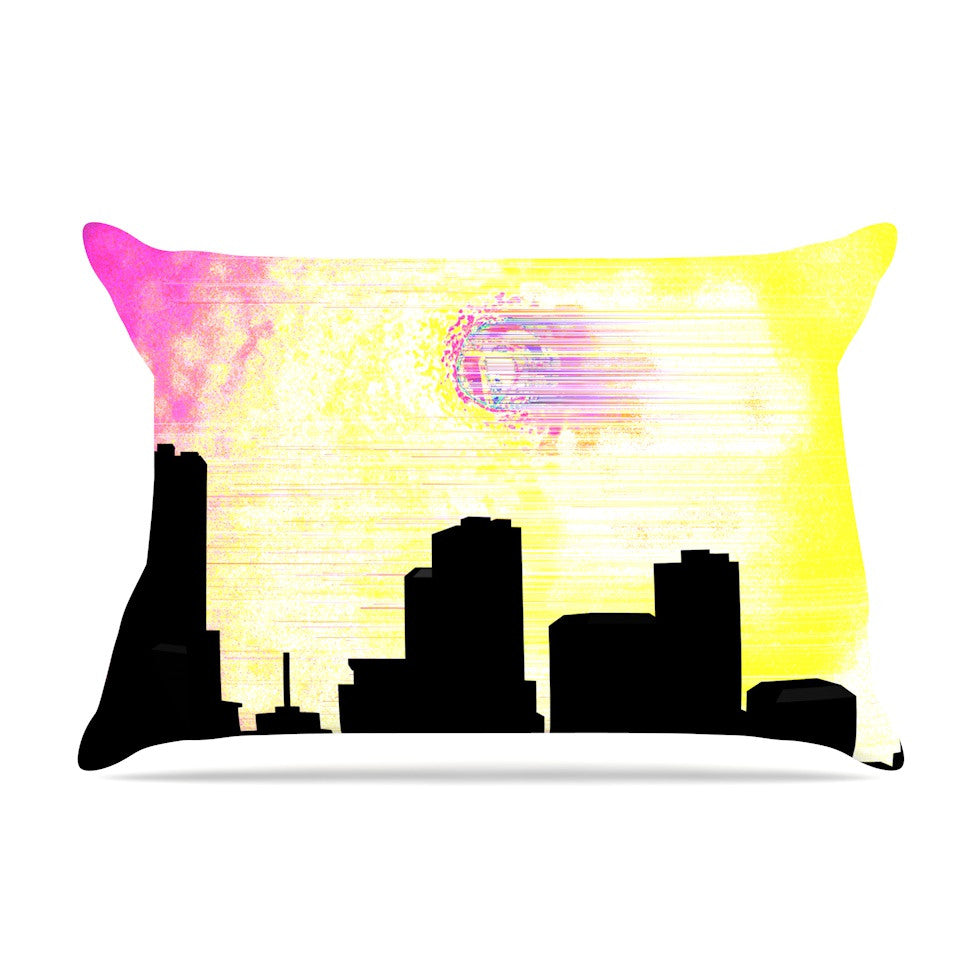 "Infinite Spray Art ""Skylined"" Pink Yellow Pillow Sham - KESS InHouse"