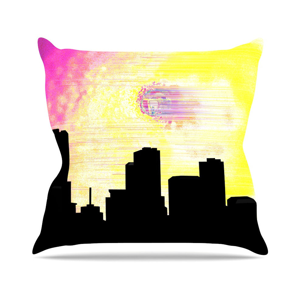 "Infinite Spray Art ""Skylined"" Pink Yellow Throw Pillow - KESS InHouse  - 1"